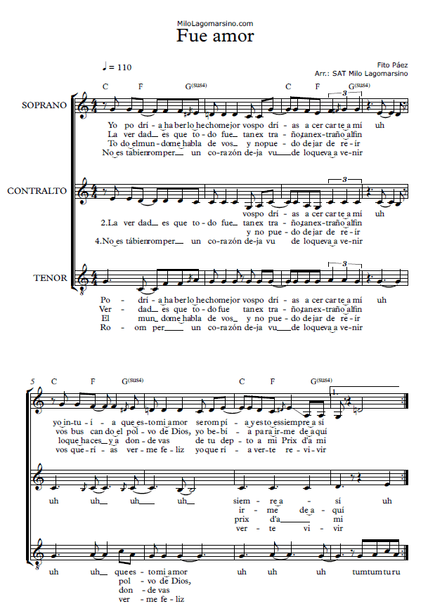 Partitura coral de fito páez - Partitura coral fácil - Partitura coral sencilla