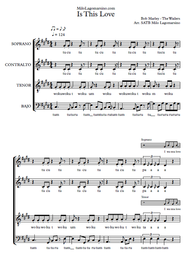 is this love partitura para coro de bob marley partitura a 4 voces en pdf